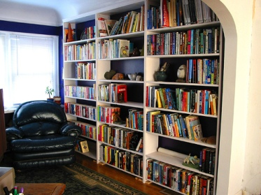 a home library full of books