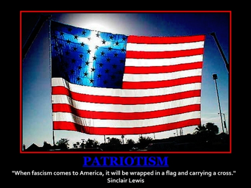 fascism to america with cross and flag