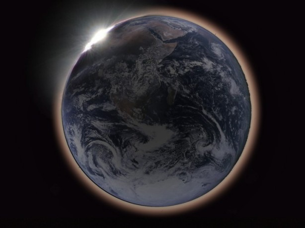 a picture of the earth during a lunar eclipse
